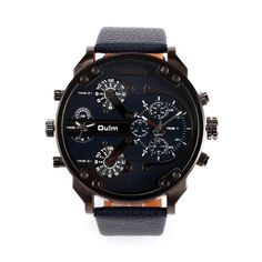 Men's Big Round Dual Time Display Quartz Wrist Watch