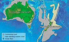 Nueva Zelanda es de hecho parte de un continente sumergido en 93%, conocido como Zealandia, el cual era un gran pedazo de Australia que se hundió después de separarse de ella, hace 70 millones de años.