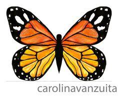 Borboleta monarca - Aquarela e nanquim