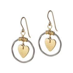 LOVE CYMBAL EARRINGS | recycled jewelry, instruments | UncommonGoods  recycling by using discarded and broken drum cymbals and guitar strings