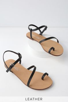 f60f6f7d4eb Flower Black Leather Flat Sandals