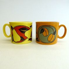"""""""2 x Vintage Staffordshire Potteries Ltd Ironstone Mugs, Made in England 1976 - art nouveau style fruit design, Pears & Apricots."""""""
