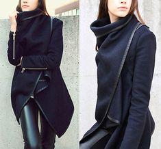 Womens Thicken Warm Winter Woolen Trench Coat Parka Overcoat Long Jacket Outwear #Unbranded #BasicJacket