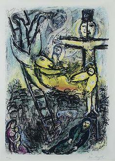 Marc Chagall - 1971, Vision de Jacob (Jacob's Vision) Color Lithograph  (76 x 53 cm)
