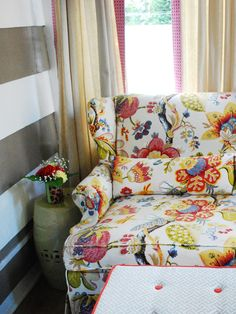 dining room chair slipcovers floral design | Cover It Up When trying to blend living room furniture ...