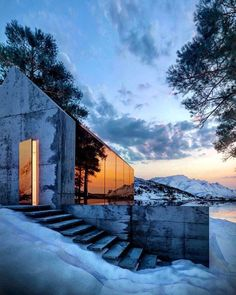 Glass house by Alex Nerovnya Winter. Concrete Architecture, Architecture Details, Interior Architecture, Minimalist Architecture, Amazing Architecture, Lawn And Landscape, Landscape Design, Winter Landscape, Landscape Arquitecture