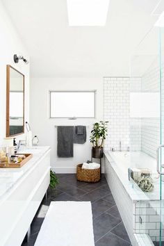 Modern bathroom renovation -- white subway tile and darker grout Bathroom Renos, Laundry In Bathroom, Bathroom Flooring, Bathroom Interior, Bathroom Grey, Bathroom Layout, Bathroom Remodeling, Bathroom Goals, Simple Bathroom