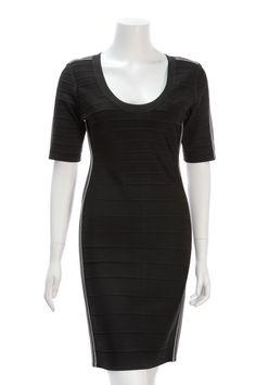 Herve Leger Black Allison Short Sleeve Dress