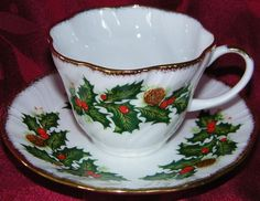 "Yet another cup and saucer by Rosina in the ""Yuletide"" pattern.  I think this is my favorite."