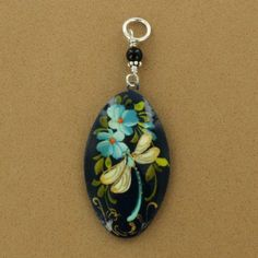Sterling Silver Paper Mache Dragonfly Oval Pendant $29.50 fireandice.com