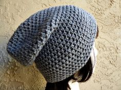 Light Grey Gray Slouch  Crochet Slouchy Beanie  by YarnOverDesign