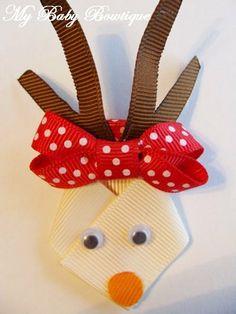 Girls Hair Bow Clip - Reindeer Clip
