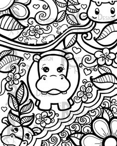 INSTANT DOWNLOAD Coloring Page - Hippo Art Print zentangle inspired, doodle art, hippopotamus printable