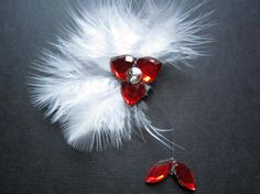 Feathered Red Hair Pin