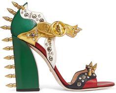 Gucci Embellished metallic leather sandal