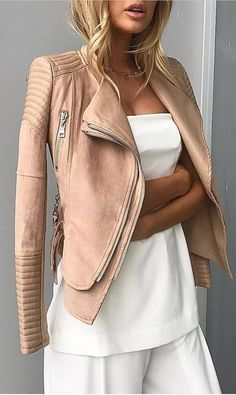 nude and white ootd / moto jacket + blouse + pants