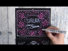 大人黒板なカレンダー4月(チョークアート:桜)