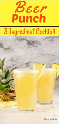 Beer Punch ~ 3 Ingredient Cocktail - Miss in the Kitchen Beer Punch is a super simple and refreshing cocktail for any party or get together with friends. Just 3 simple ingredients and you will be making this all summer long! Summer Beer Recipes, Beer Cocktail Recipes, Drinks Alcohol Recipes, Fireball Recipes, Drink Recipes, Cocktail Drinks, Fun Drinks, Alcoholic Drinks, Cocktails