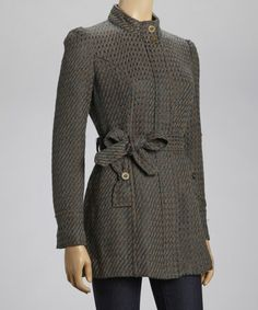 Take a look at this Cocoa & Deep Emerald Belted Coat by Tulle on #zulily today!