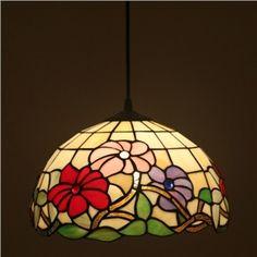 Tiffany Glas Blumen Muster Pendelleuchte