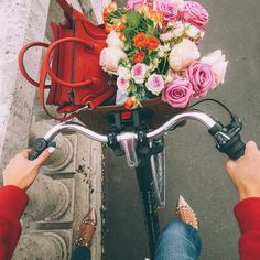 """stylishblogger: """" Today's view ❤️ I can't help but buy flowers when we pass all these amazing flower shops  they are making our hotel room feel like home even if they are in a coffee pot of water..."""
