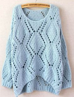 Cheap Leisure Loose Round Neck Argyle Hollow Sweaters For Big Sale!Leisure Loose Round Neck Argyle Hollow Sweaters is made by the soft and comfortable knit cotton blended fabric. Loose Knit Sweaters, Long Sweaters, Sweaters For Women, Knitting Sweaters, Cheap Sweaters, Moda Crochet, Crochet Top, Bikini Crochet, Pullover Mode