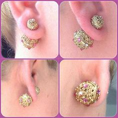 Gold Mise En Filigree Tribal Swarovski Crystal Pink Double Stud Earrings OOAK | eBay