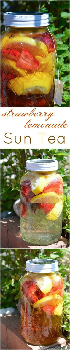 Strawberry Lemonade Sun Tea Recipe – This is the perfect summertime beverage. A … Strawberry Lemonade Sun Tea Recipe – This is the perfect summertime beverage. A naturally fruit flavored tea with no added sugar! Tastes like homemade Snapple! Refreshing Drinks, Summer Drinks, Fun Drinks, Healthy Drinks, Summer Snacks, Healthy Summer, Party Drinks, Healthy Nutrition, Cold Drinks
