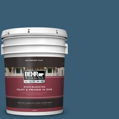 BEHR Premium Plus Ultra 5-gal. #S490-7 Superior Blue Flat Exterior Paint