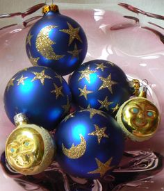 Lot of 6 Celestial Moon and Stars Themed Glass Christmas Ornaments Bulbs by KrauseHaus on Etsy https://www.etsy.com/listing/160529968/lot-of-6-celestial-moon-and-stars-themed