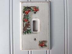 Shabby Wooden Light Switch Cover / Plate / Wall Plate – Bird w/ Cherries by WileWood on Etsy https://www.etsy.com/listing/224360149/shabby-wooden-light-switch-cover-plate