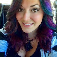 Purple, blue, green hair peacock hair medium length hairstyle