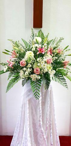 Altar Flowers, Church Flowers, Funeral Flowers, Funeral Floral Arrangements, Easter Flower Arrangements, Condolence Flowers, Sympathy Flowers, Blue Centerpieces, Cemetery Flowers