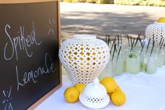 Event produced by Kapture Vision. Spiked Lemonade Station! Camp Retreat, table setting