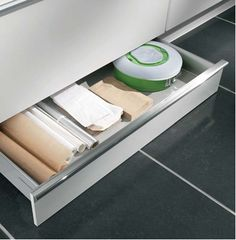 Don't let any space go to waste! These under-cabinet drawers help you utilize every last inch. Available at Your German Kitchen!