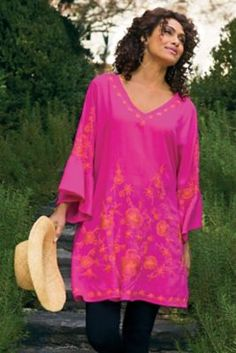 Maui Tunic - Floral Accent Tunic, Tie-back Tunic | Soft Surroundings