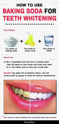 Natural Teeth Whitening Remedies How to Use Baking Soda for Teeth Whitening - Many say that baking soda is good for whitening teeth in a natural way. But How to use baking soda for teeth whitening is a big question for us. Baking Soda Lemon Juice, Baking Soda Teeth, Baking Soda Whitening Teeth, Homemade Teeth Whitening, Baking Soda Uses, Brushing With Baking Soda, Baking Soda For Acne, Homemade Toothpaste, Baking Soda Shampoo