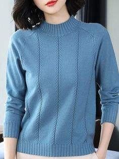 Round Neck Elegant Plain Long Sleeve Knit Pullover latest women's clothing, dresses, tops, outerwear and other clothing. enjoy the worldwide shipping , # Mode Outfits, Trendy Outfits, Fashion Outfits, Cheap Fashion, Womens Trendy Tops, Oufits Casual, Knitwear Fashion, Types Of Collars, Long Sleeve Sweater