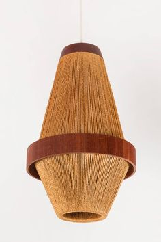 Teak and Jute Pendant Light by Fog & Mørup 4