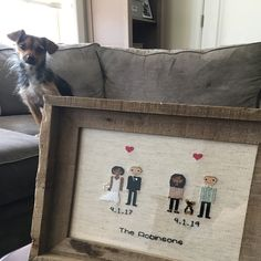 Anniversary Gift Cross Stitch Family Portrait Then and Now Cotton Anniversary Gift Wedding Couple Linen Anniversary Present for Her Gift for Second Anniversary Gift, Cotton Anniversary Gifts, Wedding Couples, Wedding Gifts, Cross Stitch Family, Presents For Her, Sentimental Gifts, Gifts For Wife, Family Portraits