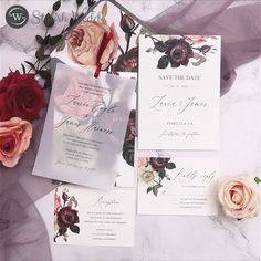 This digitally printed invitation with a moody floral pattern is held in place with a vellum overlay. It has a fine art feel and would be perfect at any time of year. Affordable Wedding Invitations, Elegant Wedding Invitations, I Believe In Love, I Got Married, Wedding Designs, Save The Date, Overlays, Reception, Burgundy