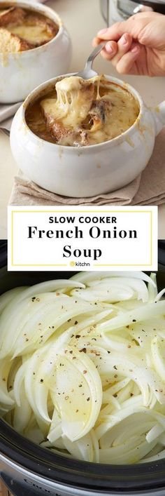 How To Make the BEST EASY HEALTHY homemade French Onion Soup in the Slow Cooker from scratch. This recipe is a cold weather food game changer. Such a smart cooking tip - from start to finish, make caramelized onions in your crockpot and finish them as a d Crock Pot Soup, Crock Pot Slow Cooker, Slow Cooker Recipes, Crockpot Recipes, Cooking Recipes, Cooking Tips, Cooking Games, Cooking Classes, Slow Cooker Chili