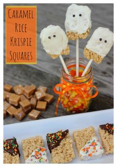Looking for a fun and easy Halloween treat? You can't go wrong with these Caramel Rice Krispies Squares. They are a yummy twist on the traditional Rice Krispie Treats and you can decorate them in any way you want! This recipe uses caramel and sweetened condensed milk to give the Rice Krispies an added Fall flavor. Combining the deliciousness of caramel with chocolate really makes it a Fall treat your family will ask for again and again.