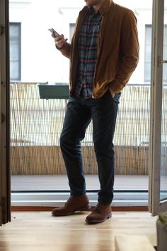 [Flannel time? Flannel time!](http://imgur.com/a/XmfLj) Hugo Boss goat suede jacket Lands End flannel H&M chinos Meermin Suede captoe boots...
