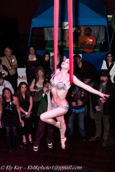 Aerialist performing Aerial Hammock Circus - Fire Gypsy Sasha