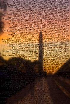 Sunrise and the Washington Monument reflect off the Vietnam Veterans Memorial and the names of those servicemen and women who fought and died in the Vietnam War or are still unaccounted for. Today, and every day, we honor you.