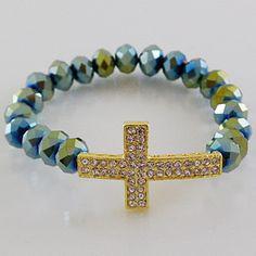 Fashion Stretch Bracelet-Cross/Green