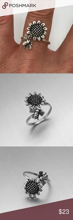 Sterling Silver Bumble Bee  and Sunflower Ring Sterling Silver Bumble Bee Hovering Over Sunflower Ring, Index Ring, Thumb Ring, 925 Sterling Silver, Face Height 20 mm (0.79 inch) Jewelry Rings