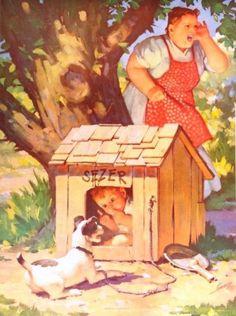 """In the Dog House"", Raymond James Stuart illustration."