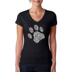 Los Angeles Pop Art Women's Dog Paw V-Neck T-Shirt, Size: Large, Black